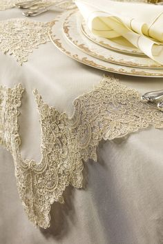 Romantic and Chic, also elegant DANTELL Tablecloths, napkins, place mats…