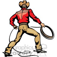 99396d71ded A Cowboy Wearing a Red Shirt Brown Leather Hat and Boots with Spurs Holding  a Rope