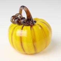 Mini Pumpkins by Leonoff Art Glass - Daffodil (Art Glass Sculpture) Glass Pumpkins, Mini Pumpkins, Pumpkin Art, Pumpkin Carving, Pumpkin Delight, Rich Colors, Clay Projects, Green Stripes, Blown Glass