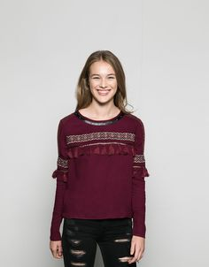 embroidered shirt with pompoms - Shirts & Blouses - Bershka Indonesia