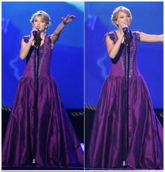 Taylor Swift in a Purple Dress - 42nd CMA Awards 2008