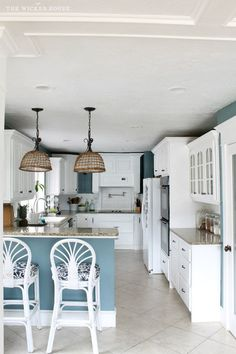 White Kitchen Paint Colors my fresh new blue kitchen reveal - the wicker house - benjamin