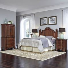 Home Styles Santiago Queen/Full Headboard Two Night Stands and Door Chest, Brown
