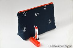 Makeup bag Makeup case Cosmetic bag Toiletry bag Pencil case Zipper pouch School supplies Blue Navy and Red Nautical Marine style. LeafsCreations.