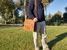 Leather Messenger Bag -Vintage Styled- Distressed Leather Crossbody Bag. Timberland Color Briefcase. Genuine Handmade in Greece - Cowhide. by LeatherStrata on Etsy