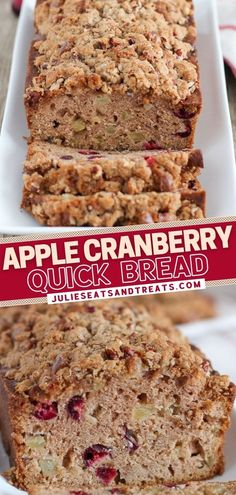 No need for a mixer in this recipe! Loaded with apples and fresh cranberries, this sweet and lightly spiced quick bread is a winner during the holidays. A brown sugar pecan streusel is the perfect finishing touch! Enjoy a slice with coffee for a delicious Christmas snack!