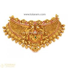Gold Choker Necklaces for Women - View our collection and buy Online Indian gold choker necklaces for women, made in India - Ships from New Jersey USA - Indian Gold Jewelry - Buy Online Jewelry Design Earrings, Gold Earrings Designs, Gold Designs, Necklace Designs, Gold Jewelry, Jewelery, Gold Chocker Necklace, Gold Choker, Gold Mangalsutra Designs