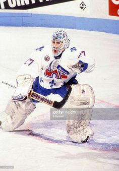 goalie-ron-hextall-of-the-quebec-nordiques-defends-the-net-during-an-picture-id147492746 (712×1024) Pro Hockey, Hockey Goalie, Hockey Players, Hockey Stuff, Quebec Nordiques, Hockey Pictures, Goalie Mask, Cool Masks, Montreal Canadiens