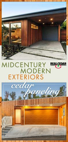 Browse our gallery of various Midcentury Modern interior and exterior paneling styles! Cedar was and continues to be a classic staple material in midcentury design. Exterior Siding, Exterior Remodel, Exterior House Colors, Ranch Exterior, Exterior Signage, Exterior Stairs, Cedar Siding, Garage Remodel, Exterior Paint