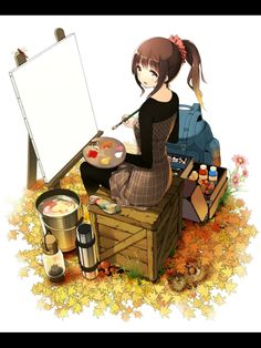 This could be me. If I were taller. And had brown hair. And lighter skin. And owned a canvas. And wore dresses. And... Yea ok. This isn't me. xP But it's nice.