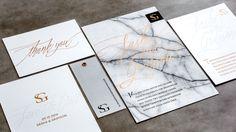 Letterpress & Foil Invitations / Copper / Marble / White / Masculine Invitations / Wedding Invitations / Bliss & Bone