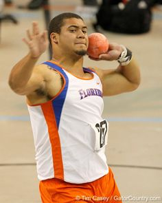 Hunter Joyer (also a member of Florida Football) competes for Track in the shot put