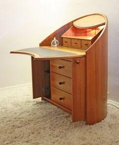 Beautiful Danish Teak Modern Bent Wood Desk Secretary Mid Century