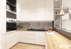 Wystrój wnętrz - Kuchnia - styl Skandynawski. Projekty i aranżacje najlepszych designerów. Prawdziwe inspiracje dla każdego, dla kogo liczy się dobry gust i nieprzeciętne rozwiązania w nowoczesnym projektowaniu i dekorowaniu wnętrz. Obejrzyj zdjęcia! Small Modern Kitchens, Elegant Kitchens, Home Kitchens, Living Room Kitchen, Kitchen Dining, Kitchen Decor, 10x10 Kitchen, Rustic Kitchen, Kitchen Worktop