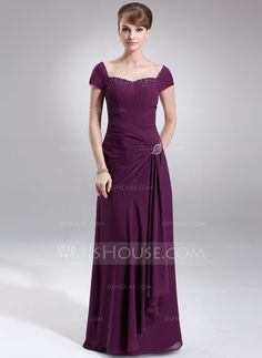 A-Line/Princess Sweetheart Floor-Length Ruffle Beading Zipper Up Cap Straps Sleeveless No Grape Fall General Plus Chiffon Mother of the Bride Dress