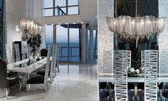 salle à manger de luxe avec revêtement de sol en marbre blanc, chaises cool avec dossiers hauts et suspension design en métal