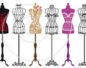 Set of vintage tailor's mannequin silhouettes, wire dress forms, fashion illustration, digital clipart, art drawing
