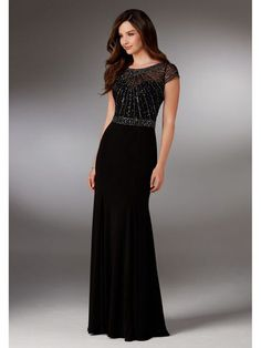 Evening Dresses and Mother of the Bride Dresses by Morilee. Beaded Jersey Evening Gown with an Intricately Beaded Bodice, Open V Back and Illusion Cap Sleeves. Mob Dresses, Homecoming Dresses, Fashion Dresses, Girls Dresses, Bridesmaid Dresses, Formal Dresses, Beautiful Evening Gowns, Beautiful Dresses, Evening Dresses