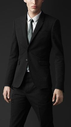 Slim Fit Striped Seersucker Jacket   Burberry
