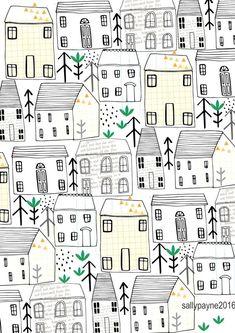 Nostalgia Collection // Surface Pattern Design by Beth Schneider - Elizabeth Victoria Designs - kidsand parenting Textile Pattern Design, Surface Pattern Design, Textile Patterns, Print Patterns, Textiles, Building Illustration, House Illustration, Pattern Illustration, Watercolor Pattern