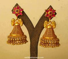 gold antique jhumka latest design