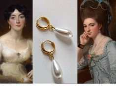 I've always LOVED the hoop-and-pearl earrings of the 18th Century! They are so modern and versatile, yet perfectly at home with the aesthetics of the Georgian Era and even further back. I've always wa