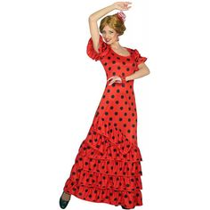 Dansez au rythme des castagnettes avec ce magnifique costume de danseuse de flamenco espagnole. Le déguisement est composé d'une longue robe rouge à pois noirs. Costumes, Party, Vintage, Fashion, Spanish Dancer, Long Gown Dress, Moda, Dress Up Clothes, La Mode