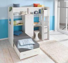 High Sleeper Loft style Cabin Bed, with hideaway Futon bed, Rutland M0360.
