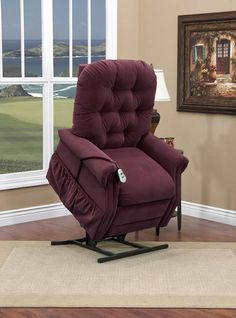 Med-Lift - Two Way Reclining Power Lift Chair with Matching Arm and Headrest Covers - Aaron Berry Fabric - 2555-AABE-FS