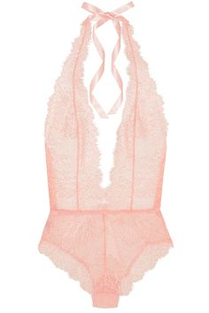 A collaboration between Mónica & Penélope Cruz and Agent Provocateur Light-pink and gold lace, light-pink stretch-tulle Ties at neck 93% polyamide, 7% elastane; lining: 100% cotton Hand wash  Small to size. See Size & Fit notes.