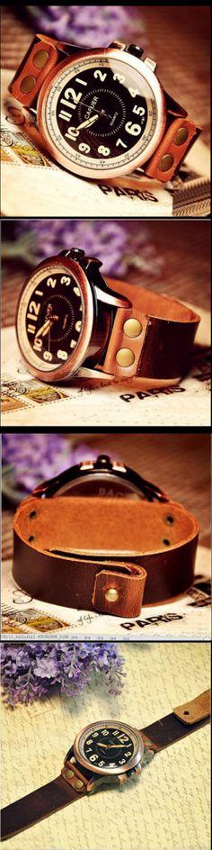 Stan vintage watches — Handmade Leather Mens Wrist Watch