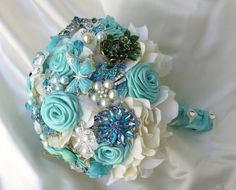 Agua Blue Brooch bouquet Wedding bouquet light blue by BoHoBridal