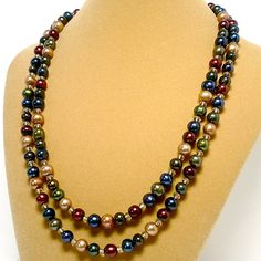 Jewel Tone Multi Color Double Strand Autumn Handmade Pearl #Necklace @katsallthat  - Jewelry on ArtFire