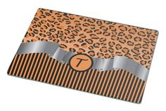 Rikki Knight Letter 'T' Initial Orange Leopard Print and Stripes Monogrammed Large Glass Cutting board Workspace Saver (Ideal Gift for Barbecues Grills or any occassion) >>> Hurry! Check out this great product : Cutlery Knife Accessories