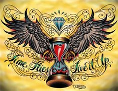 Time Flies by Tyler Bredeweg Tattoo Art Canvas Print. Tyler J. Bredeweg is a tattoo artist from Viejo, California and enjoys art, sports, tattoos, Jesus, spirituality, Sublime, women, U2, Entourage, Cops, and Journey.This feminine heart with wings has a special hourglass twist. Time flies, live it up.