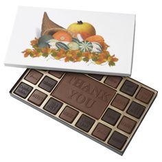 Cornucopia with Fall Gourds 45 Piece Box Of Chocolates #zazzle #chocolates #cornucopia #fall #personalized