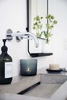 If you have a small bathroom in your home, don't be confuse to change to make it look larger. Not only small bathroom, but also the largest bathrooms have their problems and design flaws. Bathroom Toilets, Laundry In Bathroom, Small Bathroom, Guest Bathrooms, Concrete Sink Bathroom, Concrete Basin, Poured Concrete, Trough Sink Bathroom, Bathroom Candles