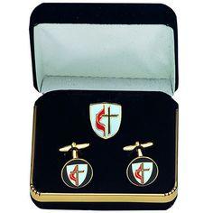 NEW Wlim Men/'s Cufflinks Black Cross Church Priest Prayer Wishes Gift Box