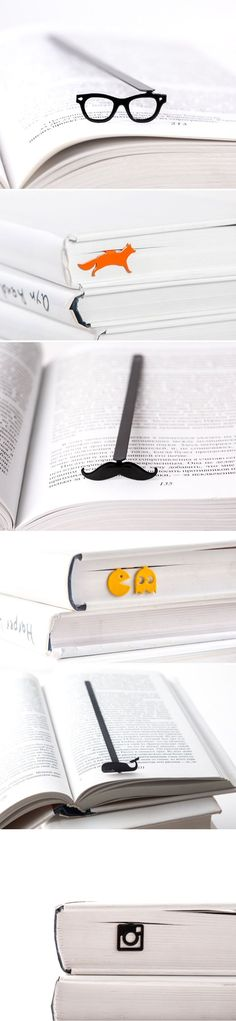 These fun bookmarks are quirky placeholders that wont stick out of the tops of books.