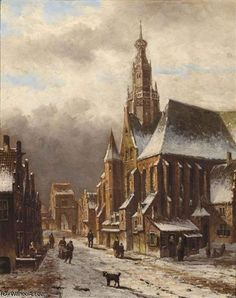Oene Romkes De Jongh - Winters gezicht op een kerk in de stad