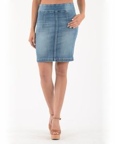 BECXY B. ABY JUPE PULL ON JEANS STONEWASH BLEU Pull On Jeans, Denim Skirt, Skirts, Fashion, Sweater Skirt Outfit, Fashion Ideas, Moda, Skirt Outfits, Skirt