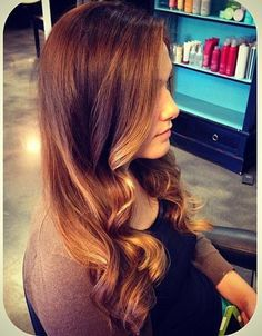 Ombre wavy layers with Davines products displayed on the shelf...love it!!! ❤