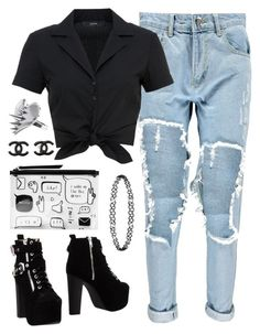 """""""Something Different"""" by avonsblessing94 ❤ liked on Polyvore featuring Boohoo, Hallhuber, Jeffrey Campbell, Monki, LUSASUL, Dorothy Perkins, Chanel, casual, casualoutfit and rippedjeans"""