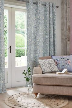 Blue Creswell Floral Print Eyelet Curtains