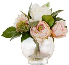 Features:  -Includes faux roses and hydrangeas .  -For indoor use only.  -Hand assembled.  -Made in the USA.  Country of Manufacture: -United States.  Product Type: -Floral Arrangements/Centerpieces/F