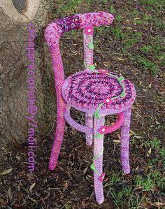 Crochet Covered Chair by crochet knit bomb appreciation, via Flickr