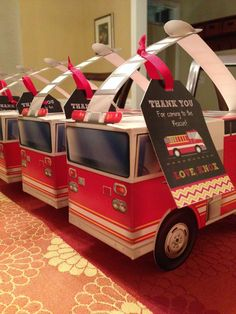 Fireman boy birthday party favors! See more party planning ideas at CatchMyParty.com!
