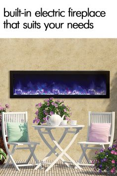 Amantii 60″ wide x 12″ deep Built-in Outdoor Electric Fireplace (BI-60-DEEP-OD)