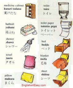 medicine cabinet bathtub shower Shawā シャワー tower pillow makura まくら toilet toire トイレ toilet paper toiretto pēpā トイレットペーパー bed beddo ベッド blanket mōfu 毛布 sheet shīto シート: