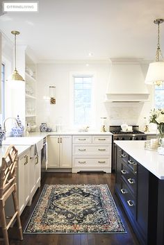 Modern Kitchen Design New kitchen lighting and barstools a vintage style rug add character and tailored elegance to our kitchen, it's a chic and sophisticated mix! Farmhouse Style Kitchen, Modern Farmhouse Kitchens, Home Decor Kitchen, Rustic Kitchen, Interior Design Kitchen, Kitchen Furniture, New Kitchen, Vintage Kitchen, Home Kitchens